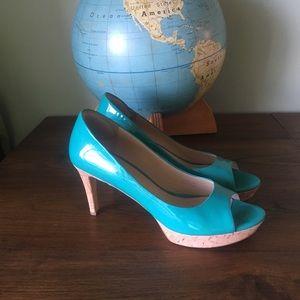Via Spiga patent leather peep toe pumps